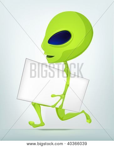 Cartoon Character Funny Alien Isolated on Grey Gradient Background. Postman. Vector EPS 10.