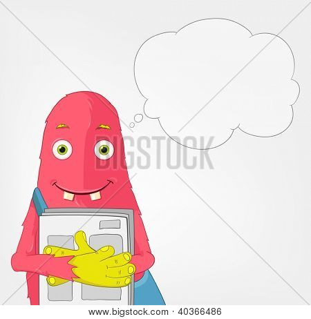 Cartoon Character Funny Monster Isolated on Grey Gradient Background. Postman. Vector EPS 10.