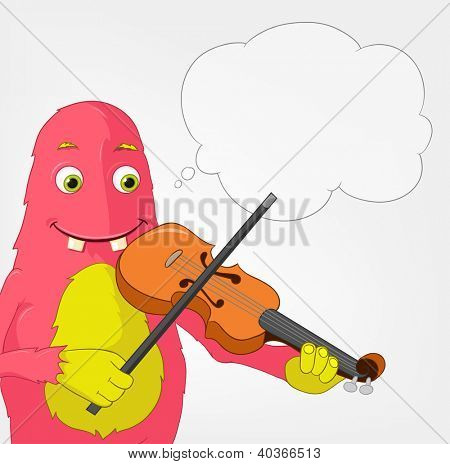 Cartoon Character Funny Monster on Grey Gradient Background. Violinist. Vector EPS 10.
