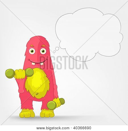 Cartoon Character Funny Monster Isolated on Grey Gradient Background. Gym. Vector EPS 10.