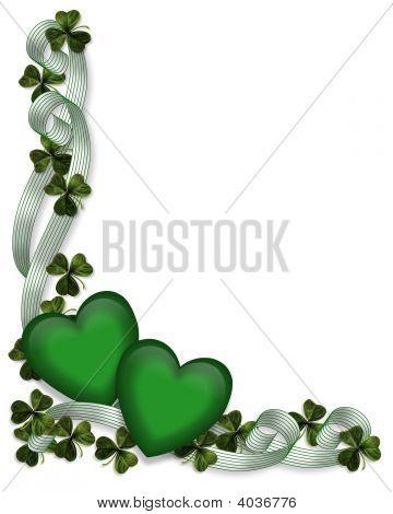 St Pattys Day Border Ribbons Hearts