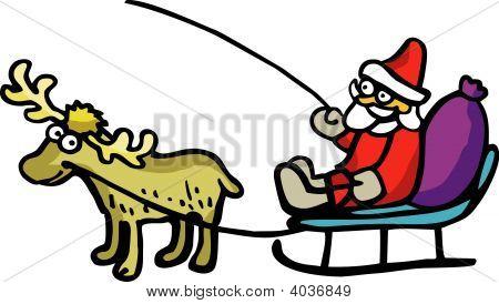 Santa Claus On Deer Team