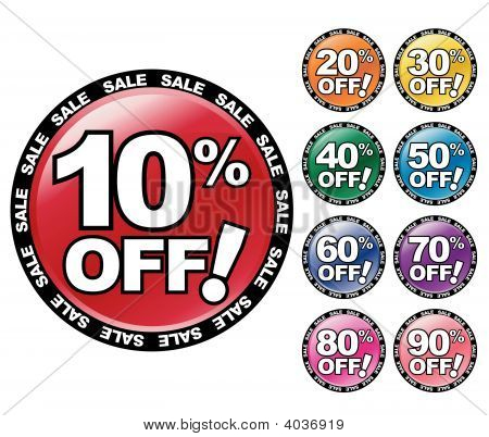 Colorful Percent Off Icons