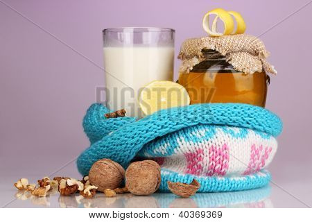 Healthy ingredients for strengthening immunity on purple background
