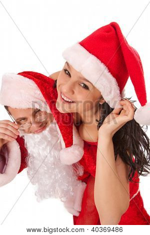 Portrait of Santa Claus with sexy girl in Santa hat. Isolated on white.