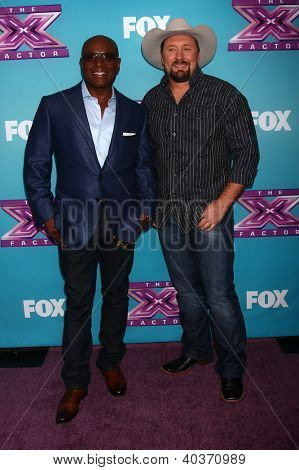 LOS ANGELES - DEC 17:  L.A. Reid, Tate Stevens at the 'X Factor' Season Finale Press Conference at CBS Television City on December 17, 2012 in Los Angeles, CA
