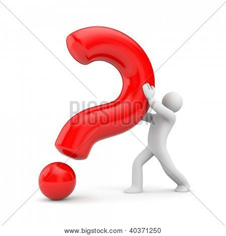 3d person with red question mark