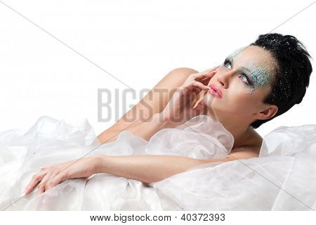 Beautiful woman with frost on face, isolated on white