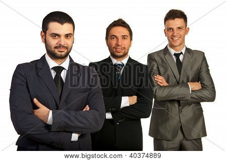 Cheerful Group Of Three Business Men