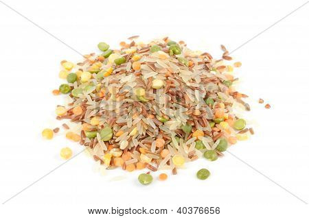 Pile Of Rice And Legume Mix Isolated On White Background