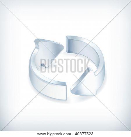 Setas brancas, ícone do vetor