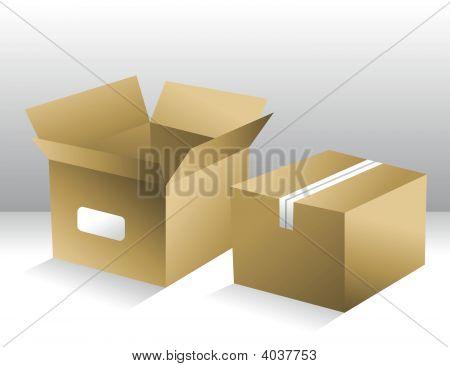 Duas caixas de transporte marrom