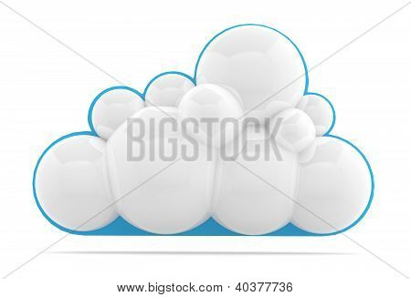 Cloud Icon. 3D Model Isolated On White