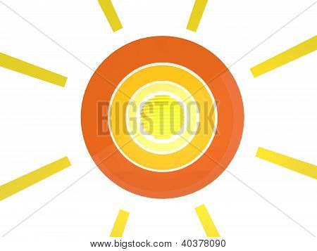 Sun Abstract Icon. 3D Model Isolated On White