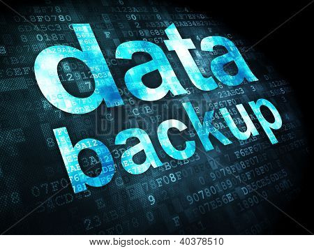 Information concept: data backup on digital background