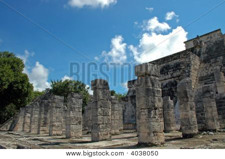Mayan Hieroglyphics On Temple Columns