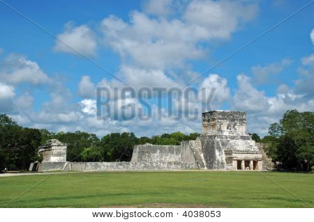 View Of Mayan Ball Court Complex