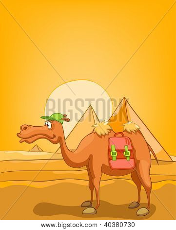 Cartoon Nature Landscape Pyramid With Camel. Vector EPS 10.