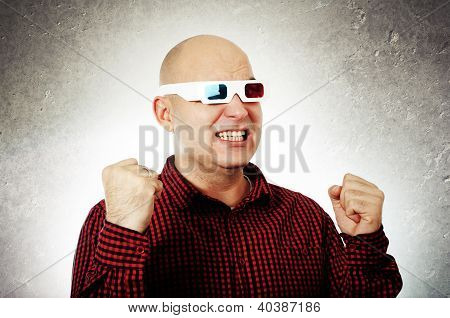 Man With 3D Anaglyph Glasses