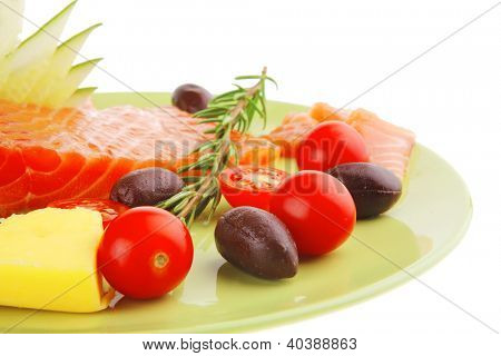 fresh smoked salmon fillet with vegetables and rosemary