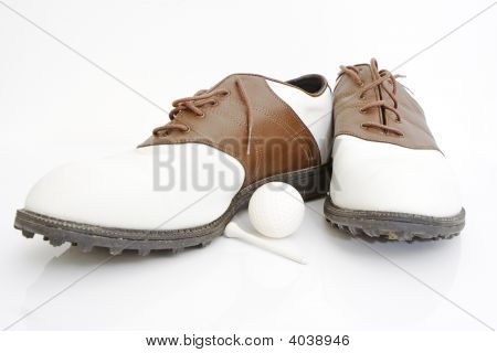 Golf Shoes Ball And Tee