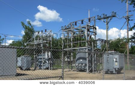 Fenced Electical Power Substation