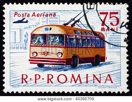 Postage stamp Romania 1963 Trolley Bus, Transport