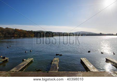 Jetties at Talkin Tarn, on an Autumn day.