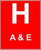 Постер, плакат: Больница вперед с аварии и чрезвычайные услуги
