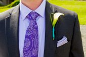 stock photo of boutonniere  - A groom and his boutonniere on his wedding day - JPG