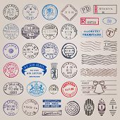stock photo of monochromatic  - Vector set of 39 vintage postage stamps from countries all over the world - JPG