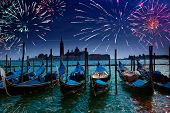 stock photo of gondolier  - Festive fireworks over the Canal Grande in Venice - JPG