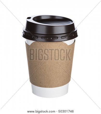 Paper cup of coffee Isolated white background