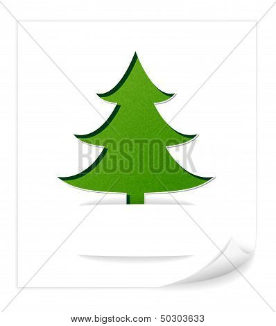 Christmas card with green tree