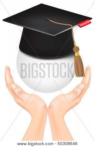 Graduation cap in hand. Rasterized illustration.