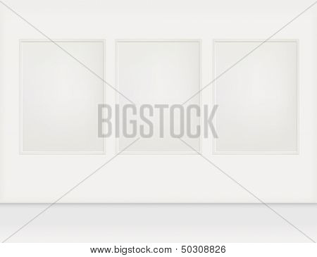 A room with three empty pictures. Rasterized illustration.