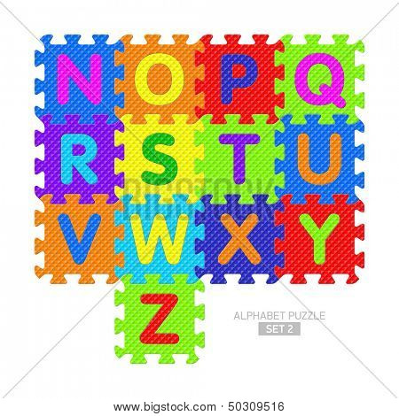 Alphabet puzzle pieces. Vector.