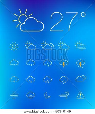 Thin weather icon set