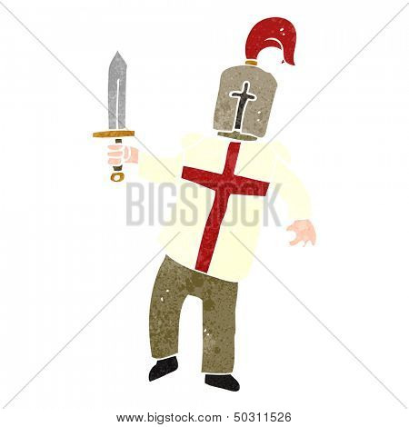 retro cartoon medieval knight