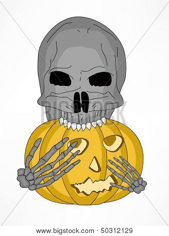 Spooky zombie holding Halloween pumpkin, can be use as flyer, banner or poster for Halloween party night.