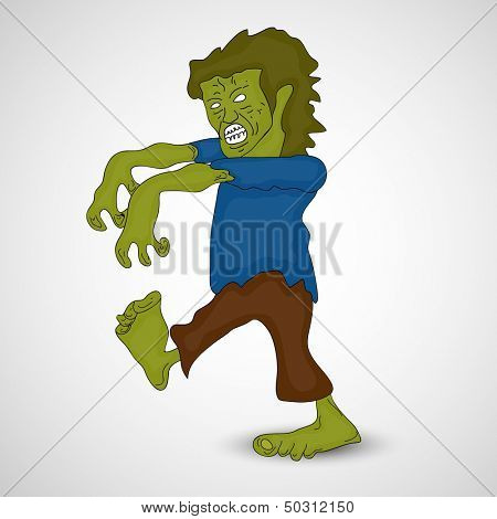 Scary zombie on abstract grey background, can be use as flyer, poster or banner for Halloween Party.