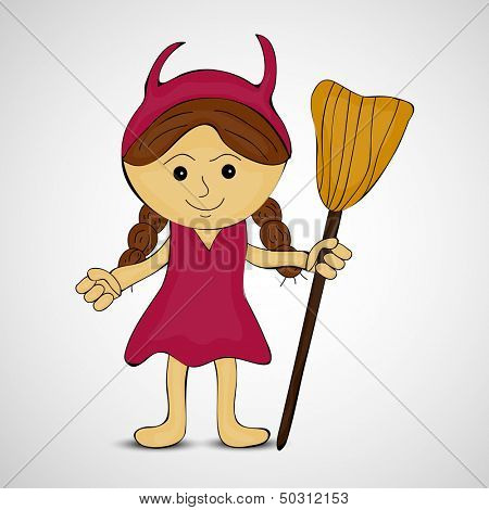 Cute pumpkin girl in witch hat holding broomstick, can be use as poster, banner or flyer for Halloween party night.