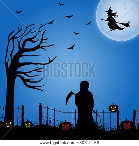 Halloween moonlight night background, can be use as poster, flyer or banner for night parties.
