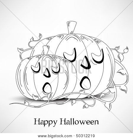 Sketch of Halloween pumpkins on abstract grey background, can be use as flyer, banner or poster for night parties.