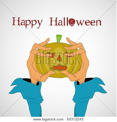 Zombie hand holding pumpkins, can be use as flyer, banner or poster for Night parties.