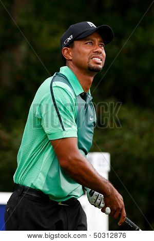 NORTON, MA-SEP 1: Tiger Woods watches his tee shot off the fourth hole during the third round at the Deutsche Bank Championship at TPC Boston on September 1, 2013 in Norton, Massachusetts.