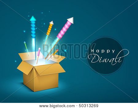 Colorful crackers coming out from a gift box on occasion of Diwali festival celebration in India.