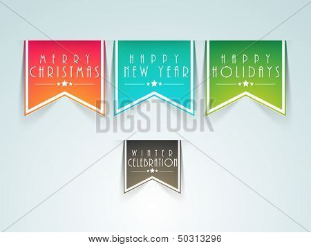 Sticker, tags or labels for Merry Christmas.
