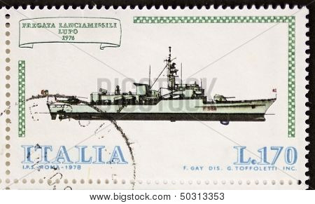ITALY -CIRCA 1978: a stamp printed in Italy shows image of  Rocket Launcher Frigate Lupo (Italian Navy). Italy, circa 1978