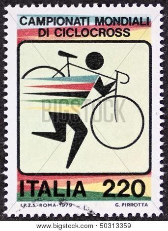 ITALY - CIRCA 1979: a stamp printed in Italy celebrates World Cyclo-cross championship. Italy, circa 1979